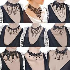 Steampunk Goth Women Black Lace Tassel Chain Pendant Choker Bib Necklace