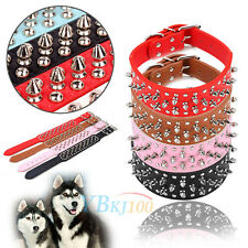 PU Leather Rivet Spiked Studded Buckle Large Pet Dog Collar Neck Strap Durable