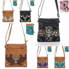 Messenger Bag Cross Leatherette Turquoise Stud Rhinestone Concealed Carry Floral