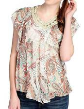 NEW - One World Printed Knit Flutter Sleeve Lace Detail Pointed Hem Top - Sz M
