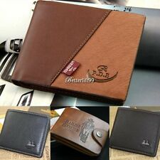 BF9 New Mens Leather Bifold ID Cards Holder Coin Pocket Bag Slim Purse Wallet