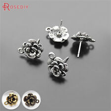 20PCS 12MM Alloy Flower Stud Earrings Jewelry Findings Accessories 19235