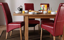 Small Harrison & Boston Extending Oak Dining Table and 4 6 Chairs Set (Red)