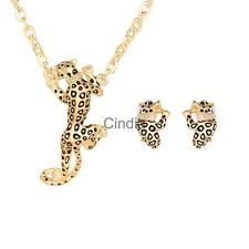 Fashion Retro Vintage Spotted Leopard Pendant Necklace And Stud Earrings Set