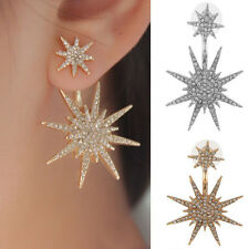 1Pc New Fashion Women's Crystal Rhinestone Dangle Tone Star Ear Stud Earrings