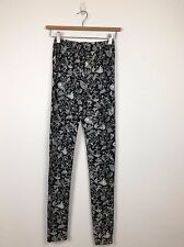 LADIES BLACK ELASTICATED WAIST WITH WHITE PRINT LEGGINGS SIZE S/M, M/L, L/XL