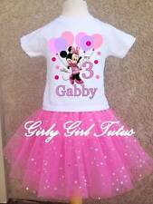 Girls Minnie Mouse Pink Birthday Glitter Tutu Outfit Dress Set