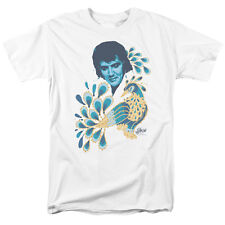 Elvis Presley Peacock Blue & Gold Feathers Licensed Tee Shirt S-3XL