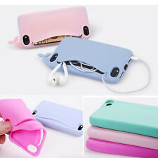 Card Holder Soft Silicone Back Case Cover Lovely Big Mouth Whale for iPhone 5 5s
