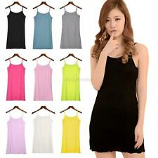 Seamless Extra Long Solid Tunic Vest Cami Camisole Plain Tank Top Tee Tube Hot
