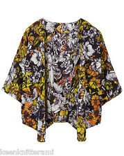 Simply Be kimono top cover up black floral print size 14  22