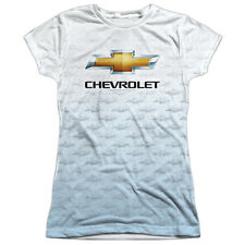 CHEVY LOGO REPEAT Licensed Front Print Women's Junior Tee Shirt SM-2XL