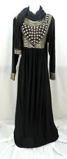 Black & Gold Summer Abaya With Matching Hijab