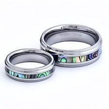 Engagement/Wedding Ring Sets Tungsten Carbide Bride-Groom Abalone Shell Inlay