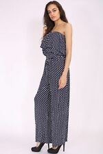 NEW LADIES BLACK NAVY POLKA DOT  FRILL FRONT JUMPSUIT PLAY SUIT