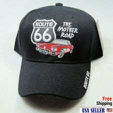 NWT ROUTE 66 RED CAR/AUTO 3D EMB.BASEBALL CAP/HAT Adjustable Back COLOR BLACK