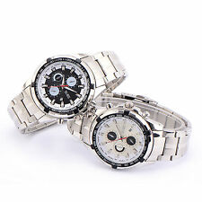 Stainless Steel Wristwatch Casual Style Mens Analogue Quartz Watch + Gift Box