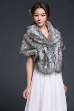 Black / Ivory/Gray Sleeveless Faux Fur Bridal Bridesmaid shawl Bolero shrug coat