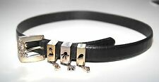 Disney Brighton Black Leather Belt Silver Buckle Women's L Mickey Mouse 3 Charms