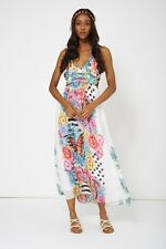 White Floral Print Halter Neck Embellished Maxi Dress Sizes 8 10 12 14 16 18