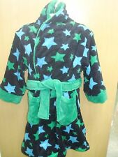 Boys Black Fleece with Green and Blue Stars Dressing Gown/Robe - 4-5 & 5-6 Years