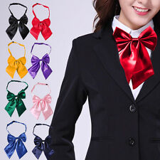 Women Girl Lady Bow Tie Neckwear Party Banquet Solid Color Adjustable Necktie