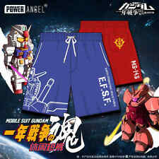 New Anime Gundam Char Aznable Summer Loose Men's Cosplay Casual Beach Shorts