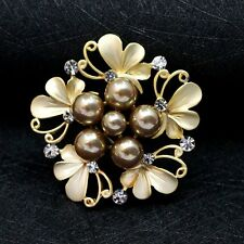 Hot Silver Gold Rhinestone Crystal Wedding Bride Bouquet Flower Pearl Brooch Pin
