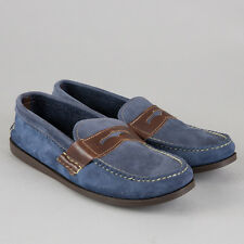 Yuketen Saddle Penny Loafer Navy Blue Suede Brown Leather USA Driving Moc Shoe