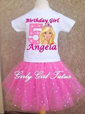 Girls Barbie Pink Glitter Birthday Tutu Outfit Dress Set