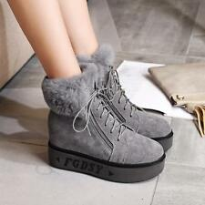 Women' faux suede Winter Snow Boots Hidden low-heels Lace-up Casual Ankle Boots