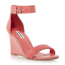 Dune Ladies KARLA Leather Two Part Tubular Front Wedge Sandal in Pink