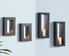 Wall-Mounted Mirror Sconces Metal Framed Mirrored Tealight Pillar Candle Holders