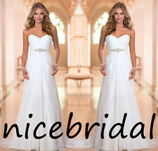 Simple White/Ivory Chiffon Wedding Dresses Long Beach Bridal Gowns Size2-4-6--16