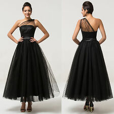 Vintage Tulle Evening Party Wedding Dress Formal Dresses Tea Length Ball Gowns