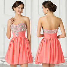Summer Strapless Chiffon Ball Gown Mini Dress Cocktail Formal Evening Prom Party