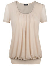 Beige Sexy Women's Short Sleeve Scoop Neck Front Pleated Fashion Tunic Tops