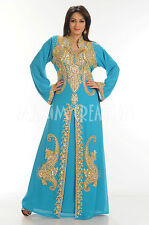 Moroccan Dubai Islamic abaya jalabiya Ladies Maxi Dress New Wedding gown 3392
