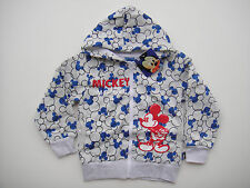 new BOYS DISNEY MICKEY MOUSE HOODIE ZIPPING FLEECY JUMPER SIZE 7
