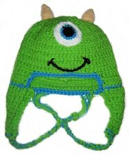 Mike Wazowski Crochet Handmade Hat with Earflaps.All Sizes.New.Made to Order.
