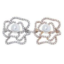 Hollow Cutout Rose Flower Diamante Crystal Rhinestone Brooches Pins Jewelry Gift