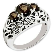 Sterling Silver Three Stone Round Shaped Smoky Quartz Ring 5.93 gr Size 5 to 10