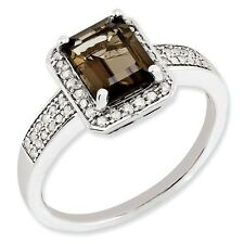 Sterling Silver Square Smoky Quartz & .15 CT Diamond Ring 2.70 gr Size 5 to 10