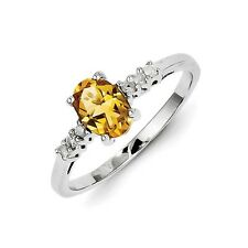 Sterling Silver Oval Cut Citrine & .10 CT Diamond Ring 1.46 gr Size 6 to 8