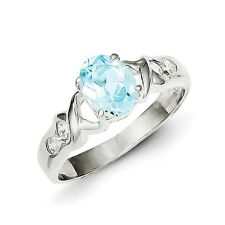 Sterling Silver Oval Cut Blue Topaz Ring 2.60 gr Size 6 to 8