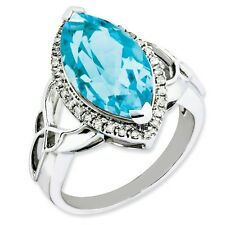 Sterling Silver Marquise Blue Topaz & .15 CT Diamond  Ring 4.19 gr Size 5 to 10