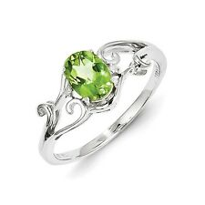 Sterling Silver Oval Cut Peridot & .01 CT Diamond Ring 1.66 gr Size 6 to 9