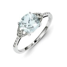Sterling Silver Square Cut Aquamarine & .01 CT Diamond Ring 1.54 gr Size 6 to 9