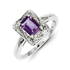 Sterling Silver Emerald Cut Amethyst & .01 CT Diamond Ring 2.43 gr Size 6 to 9