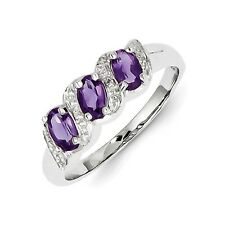 Sterling Silver Three Stone Amethyst & .01 CT Diamond Ring 2.04 gr Size 6 to 8